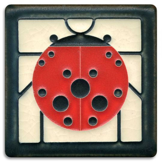 Ladybug Decorative Ceramic Wall Art Tile 4x4